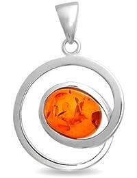 Bling Jewelry Plata Esterlina piedra precioa Infinito Epiral Cognac Oval Colgante Ámbar