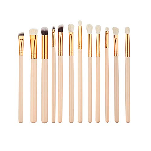 lovedjl Make-Up Pinsel 12 Teile/Satz Make-Up Pinsel Anzug Professionelle Augen Kosmetische Werkzeuge Schwarz Rose Gold Griff Lidschatten Eyeliner Lip Pinsel Kit @ As_Photo (Powder Brush Finish)