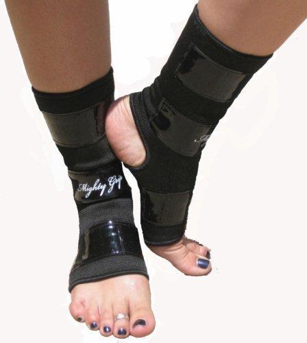 Mighty Grip Schwarz Pole Dancing Knöchelschützer mit Tack Streifen zum Greifen die Stange (1Paar), schwarz