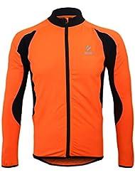 emansmoer Homme Coupe-vent Chaud Doublé polaire Veste de Cyclisme équitation Vélo Jersey Manches longues Zip Veste Tops