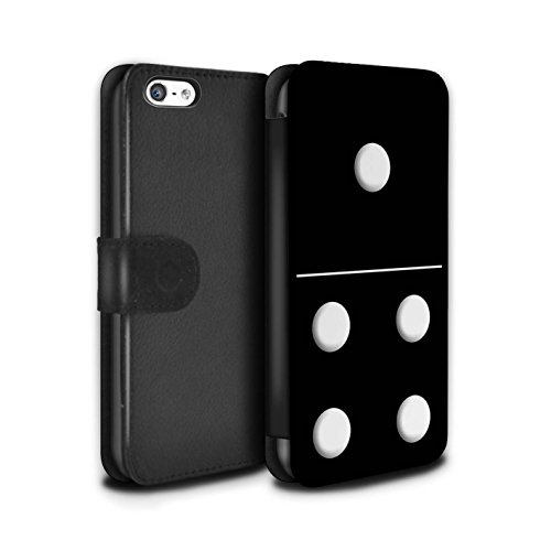 Stuff4 Coque/Etui/Housse Cuir PU Case/Cover pour Apple iPhone 5C / Tuile Blanc 5/1 Design / Domino/Dominos Collection Tuile Noir 1/4