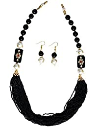 SHASHI GILETZY EVERGREEN PEARL NECKLACE WITH BLACK BEADS