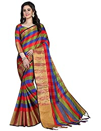 Aurima Hand Woven Jacquard Trend Silk Cotton Saree With Blouse