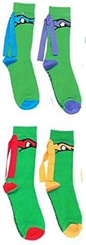 Teenage Mutant Ninja Turtles Masks Knee High Socks with Ribbon 4-Pack