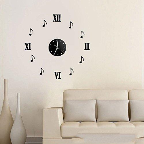 Vetrineinrete® orologio a parete adesivo sticker componibile tridimensionale 3d nero moderno decorazione murales note musicali e numeri romani 1548b