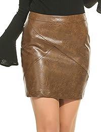Lonlier Jupe Femme Courte Classique Taille Haute Simili-Cuir Mince Mini Jupe  Crayon 3a957edd3b9e