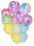 PuTwo Luftballons 30 stk Ø ca. 27cm Einhorn Party Dekoration für Hochzeit Geburtstag - Bunt Marmor