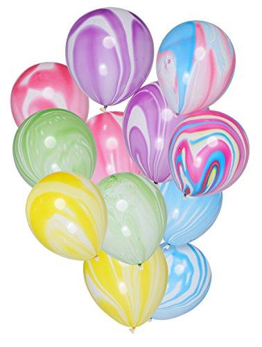 PuTwo Látex Globos de Cumpleaños 30 Piezas Globos de Helio Mármol Globos Boda Niña Niño Globos Pastel para Cumpleaños Decoración Fiesta Bautizo Aniversario -Con 25 m de Cinta Multicolor
