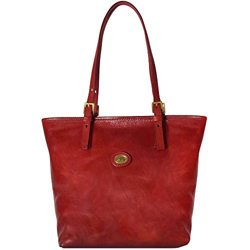 Borsa Shopper STORY DONNA in pelle marrone The Bridge 049015/01/14 rosso ribes
