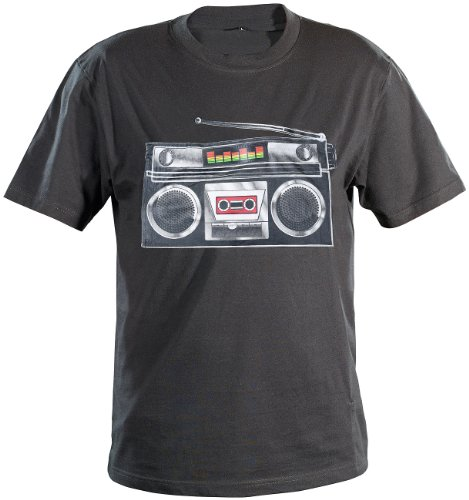 T Shirts: Ghettoblaster-T-Shirt mit Equalizer, Gr. XL (Disco- & Party-Leuchtshirts) (Disco T-shirts)