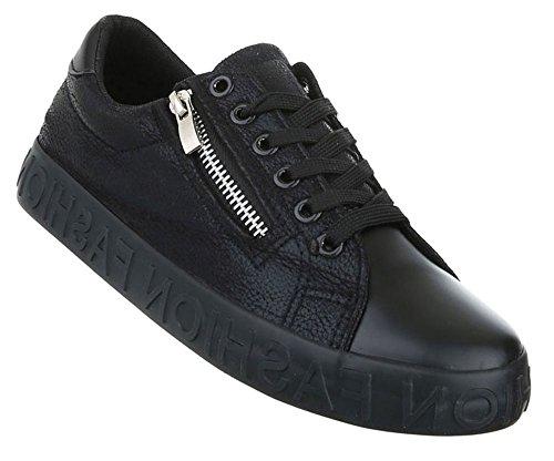 Damen Freizeitschuhe Schuhe Sportschuhe Turnschuhe Sneaker Laufschuhe Schwarz Pink Silber 36 37 38 39 40 41 Schwarz