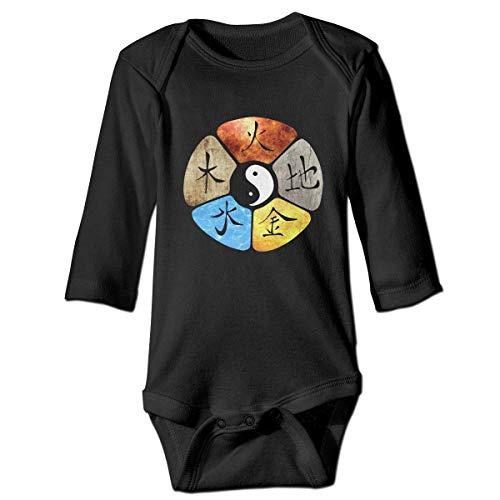 WBinHua Bodysuits Baby Body, Chinese Kung Fu Martial Arts Tai Chi Baby Unisex Long Sleeve Onesies Bodysuits -