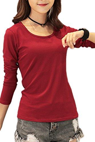 Damen Jersey Langarm Basic T-Shirt mit Rundhals lang Ausschnitt rund Top dünnes Shirt einfarbig uni 1/1 Arm langärmlig Wine