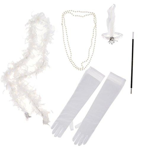 B Blesiya Vintage Haarschmuck Party Kostüm Kit - Weiß