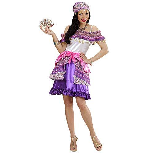 Kostüm Gipsy Zubehör - Widmann 49414 - Erwachsenenkostüm Zigeunerin Gipsy, Kleid und Kopftuch, lila, Größe XL