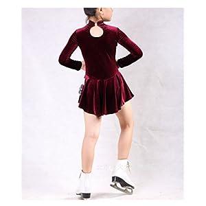 GZHGF Handmade Eislaufen Kleid Für Frauen Und Mädchen Eiskunstlauf Wettbewerb Kostüm Kleid Langärmelige Samt Wein Rot