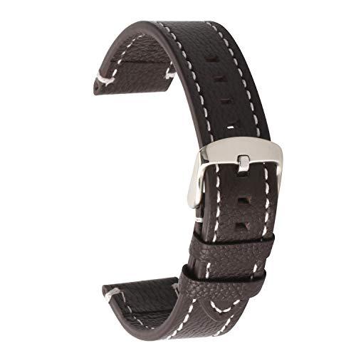 Lederarmband 18mm Mens Womens echtes Leder ersatzarmband schwarz Weiches Lederband