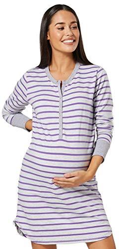 HAPPY MAMA. Damen Umstands Streifen Nachthemd mit Stillfunktion Langarm. 589p (Lila, 42-44, XL)