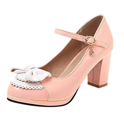 Low Heel Chunky Heels Kleid Schuhe für Frauen - Komfortable Knöchelriemen Pumps Round Toe Damen Mary Jane Schuhe Aerosoles Mary Janes