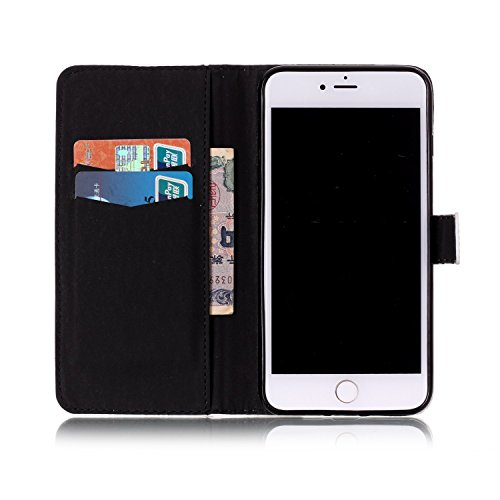 iPhone 7 Plus Hülle,Leder Hülle für iPhone 7 Plus,iPhone 7 Plus Schwarz Leder Handy Tasche Wallet Case [Heavy Duty] [Hinterbauständer Feature] Cover Etui für iPhone 7 Plus 5.5 Zoll 2016,EMAXELERS iPho G Butterfly 7
