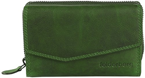 Jasy Washed-Vintage Damen-Geldbörse aus geöltem Echt-Leder, Farbe:Grün (Grün Leder-geldbörse)
