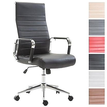 CLP Silla de oficina Kolumbus de piel sintética, silla de chef giratoria y con respaldo alto, silla de trabajo ergonómica (altura del asiento ajustable