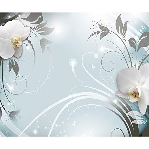 decomonkey Fototapete selbstklebend Abstrakt Orchidee 392x280 cm XL Selbstklebende Tapeten Wand Fototapeten Tapete Wandtapete klebend Klebefolie Blumen Muster blau grau weiß