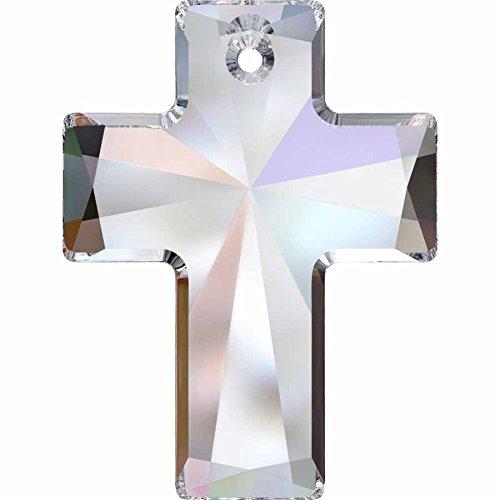 Cristallo Swarovski Ciondolo a forma di croce, Crystal AB, 40mm - Pack of 9 (W/S) - Croce Ab Cristallo