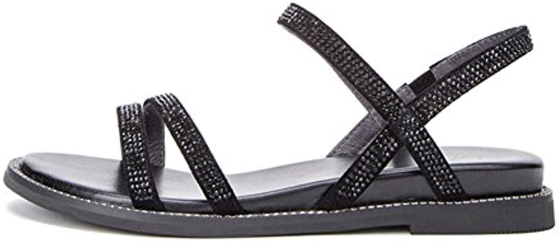 QIDI Sandalias Temporada De Verano De Moda Mujer Casual Negro Blanco Fondo Plano Punta Abierta Zapatos Individuales...