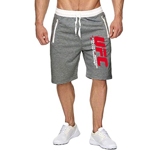 Ketamyy Herren Sommer Sport Kurze Hose UFC Drucken Joggen Bermuda Elastisch Taille Postleitzahl Tasche Kurze Hose Grau L