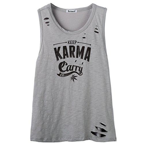 So'each Women's Keep Karma Letters Graphic Print Tee Cami Tank Top Grau