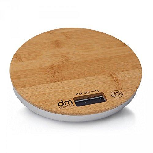 DM Creation 00196 Küchenwaage, rund, Bambus