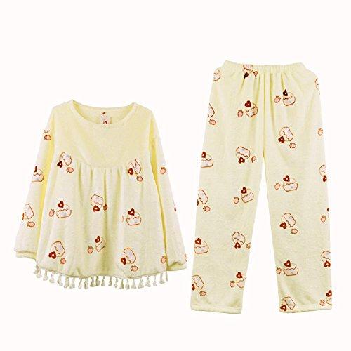 DMMSS Donne Flanella calda dolce pigiama Set due pezzi Sleepwear Set , 2 - Terry Bambino Bambola