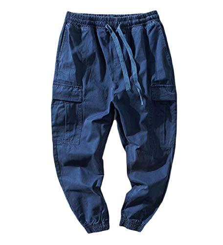 CuteRose Men Basic Juniors' Elastic Waist Pockets Casual Combat Trouser Dark Blue XL