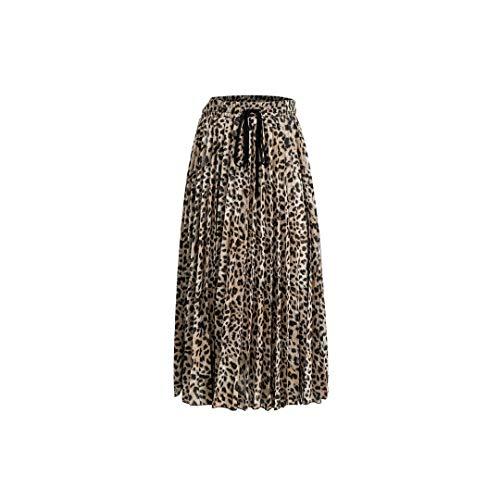 Wild-Love Falda de Mujer con Estampado de Leopardo Vintage, Falda Sexy de Cintura Alta Plisada