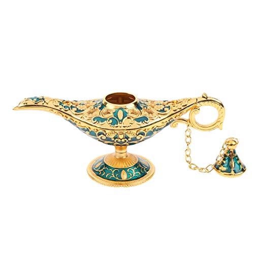 D DOLITY Glänzende Wunderlampe Vintage Lampe Tischplatte Sammlerstück, Tischdekoration, Geschenkidee - Gold-Blau (Lampen Tischplatte)