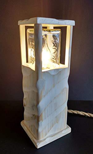 Lámpara led blanca de sobremesa de madera reciclada de palet hecho a mano