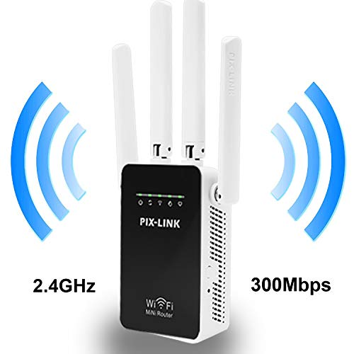 PIX-LINK Amplificadores Señal de WiFi 300Mbps, Repetidor WiFi Extensor Enrutador Inalámbrico Punto Acceso con 4 Antenas Externas en Largo Alcance (5 Modos, 2,4G, 4 Antenas, Puerto LAN/WAN, WPS)