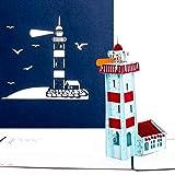 'Pop Up della carta Faro-Viaggio Buono, Buono vacanza, Faro Slot, Maritime 3d biglietto di compleanno