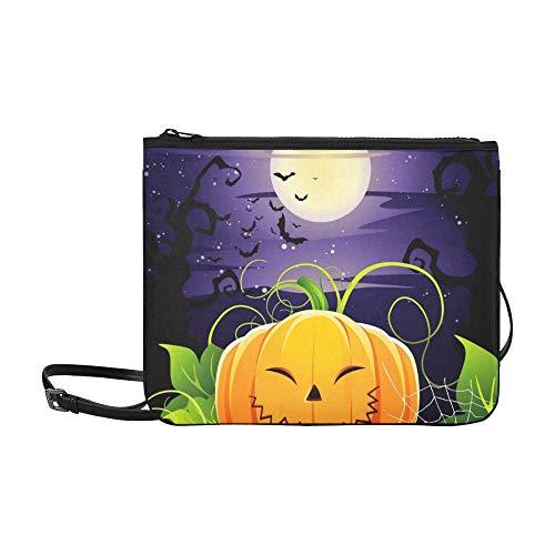 WYYWCY Halloween-Kürbis-kundenspezifische hochwertige Nylon-dünne Handtasche Umhängetasche mit Umhängetasche