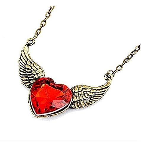 Collier avec pendentif en bronze couleur en forme de coeur avec des ailes en cristal rouge et Angel