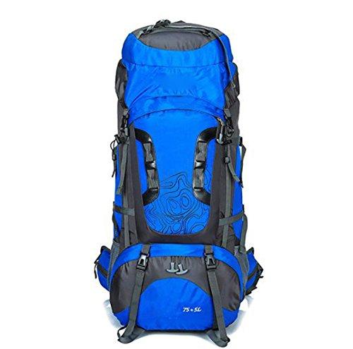 80L Wasserdicht Outdoor Sport Wandern Trekking Camping Reisen Rucksack Pack Bergsteigen Klettern Rucksack,Orange Blue