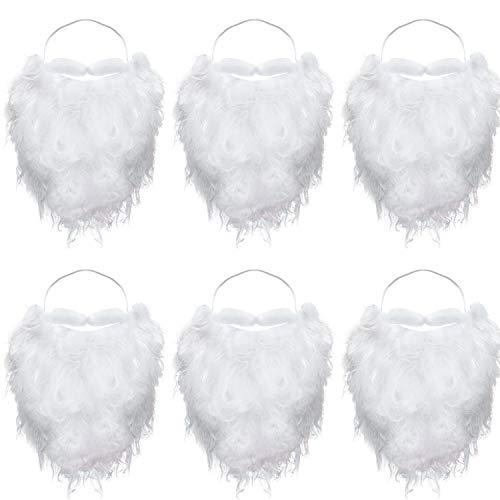 6 Stücke Lustig Santa Bart Kostüm White Gefälscht Bart Weihnachten Santa Claus Bart Kostüm Zubehör für Jugendliche Erwachsene Verkleidung Weihnachtsmann auf Weihnacht Party -