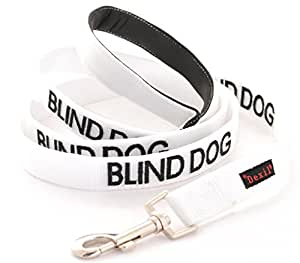 BLIND DOG (Dog Has Limited/No Sight) White Warning Dog Colour Coded Luxury Padded Personalised 1.2m 4ft Lead Leash To Prevent Accidents or Incidents. Dog LIFETIME GUARANTEE. Award Winning
