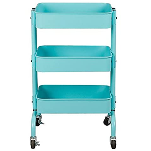 checknow Home Kitchen Bedroom 3 Tier Rolling Storage Utility Organization Cart Rolling Storage Cart (Green)