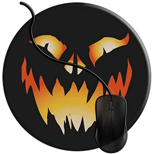 nen-Kürbis-Gesichts-Katzen-Dämon Halloween, Runde Gaming Mauspad Matte Reibungslos Weich Rutschfester Gummi Basis für PC Laptop 1U1681 ()