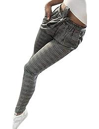 Pantalones Mujer Vintage Fashion Classic A Cuadros Pantalones De Tiempo  Libre Elegantes Fiesta Estilo Cintura Alta Elásticos Skinny… 38747af80ea5