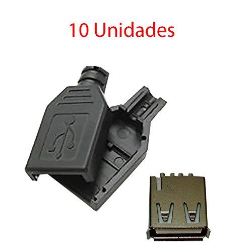 x10 Conector USB Hembra 2.0 Tipo A 4 Pin para Cable con Carcasa Plástico Aéreo