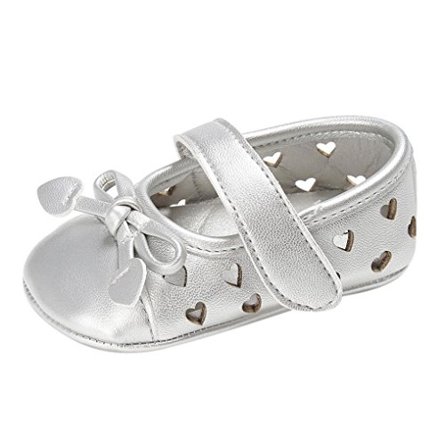 Babyschuhe, Switchali Baby schuhe mädchen Bowknot-lederner Schuh-Turnschuh Anti-Rutsch weiches Solekleinkind für 0-18 Monate Silber