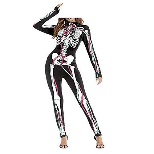Kostüm Super Skelett Skin - 3D-Print Skelett-Anzug Ganzkörperanzug Skin Strumpfhose Knochen-Kostüm Cosplay Jumpsuit für Frauen Halloween Kostüme